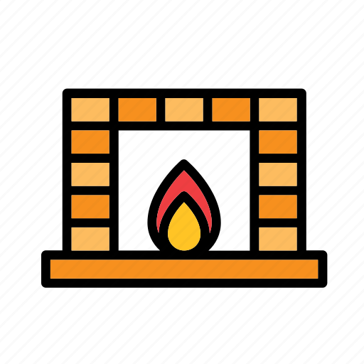 christmas, december, fire, fireplace, holidays, winter, xmas icon