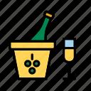 beverage, bottle, champagne, drink, glass, ice bucket