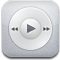 ipod, itunes, music, play, white icon