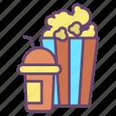 pop, corn, drink