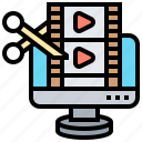 computer, editing, film, producer, video icon