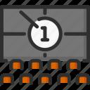 cinema, countdown, screen, seat icon