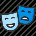 cinema, mask, theatre icon