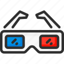 3d, blue, cinema, glasses, isometric, red icon