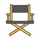 chair, cinema, director, film, movie, movie production, producer