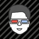 3d glasses, cinema, entertainment, film, movie, person, three-dimensional icon