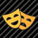 comedy, drama, happy, mask, sad, theater, tragedy