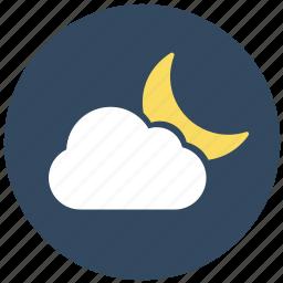 forecast, half moon, moon, sunny night, weather icon