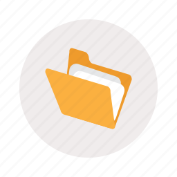 folder, opened, paper icon