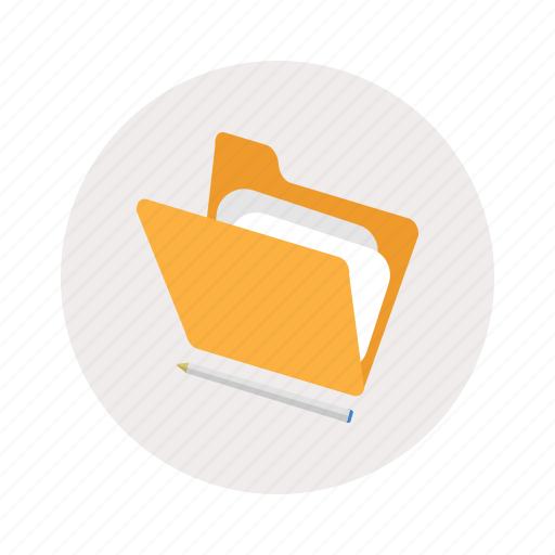 folder, opened, paper, pen icon