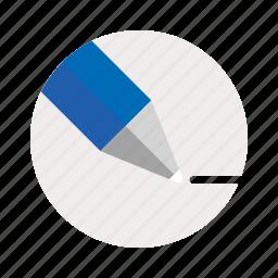 circle, pen, white icon