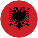 albania, albania's circled flag, albania's flag, flag of albania icon