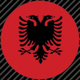 albania, albania's circled flag, albania's flag, flag of albania icon