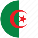 algeria, algeria's circled flag, algeria's flag, flag of algeria icon