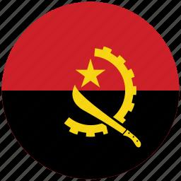angola, angola's circled flag, angola's flag, flag of angola icon