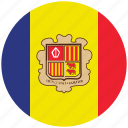 andorra, andorra's circled flag, andorra's flag, flag of andorra icon