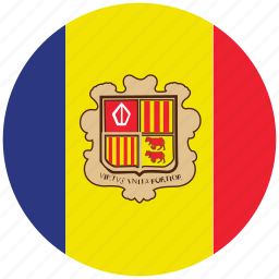 andorra, andorra's circled flag, andorra's flag, flag of andorra icon