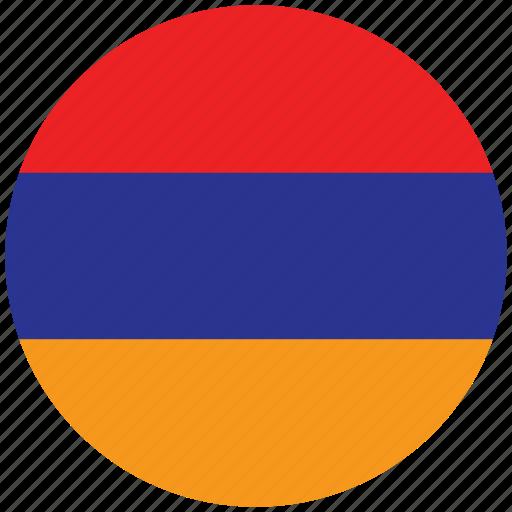 armenia, armenia's circled flag, armenia's flag, flag of armenia icon