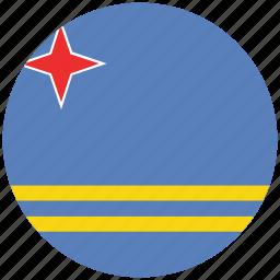 aruba, aruba's circled flag, aruba's flag, flag of aruba icon