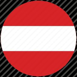 austria, austria's circled flag, austria's flag, flag of austria icon