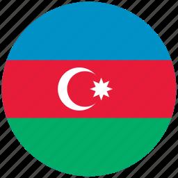 azerbaijan, azerbaijan's circled flag, azerbaijan's flag, flag of azerbaijan icon