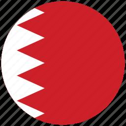 bahrain, bahrain's circled flag, bahrain's flag, flag of bahrain icon
