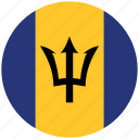 barbados, barbados's circled flag, barbados's flag, flag of barbados icon