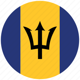 barbados, barbados's circled flag, barbados's flag, flag of barbados icon