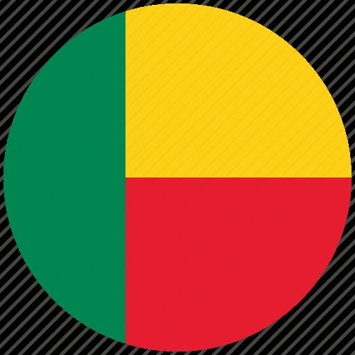 benin, benin's circled flag, benin's flag, flag of benin icon