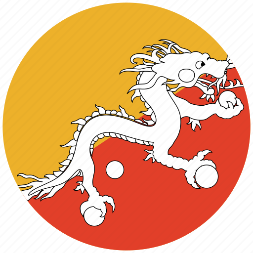 bhutan, bhutan's circled flag, bhutan's flag, flag of bhutan icon