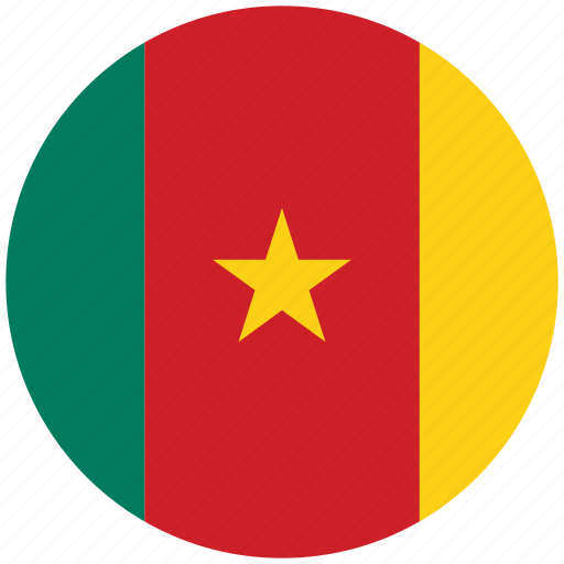 cameroon, cameroon's circled flag, cameroon's flag, flag of cameroon icon