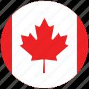 canada, canada's circled flag, canada's flag, flag of canada icon