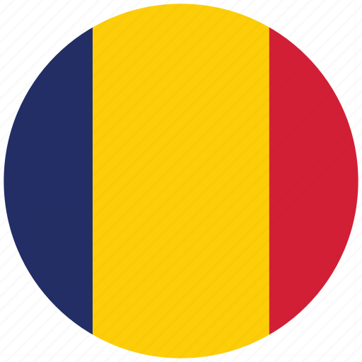 chad, chad's circled flag, chad's flag, flag of chad icon
