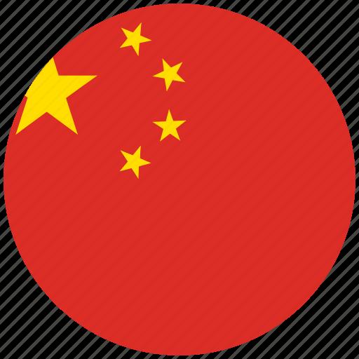 china, china's circled flag, china's flag, flag of china icon