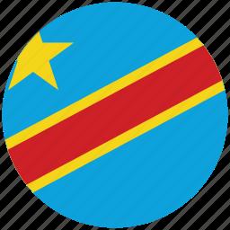 congo, congo's circled flag, congo's flag, flag of congo icon