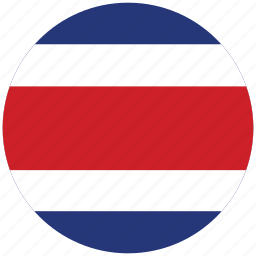 costa rica, costa rica's circled flag, costa rica's flag, flag of costa rica icon