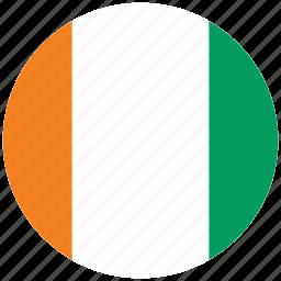 cote d ivoire, cote d ivoire's circled flag, cote d ivoire's flag, flag of cote d ivoire icon