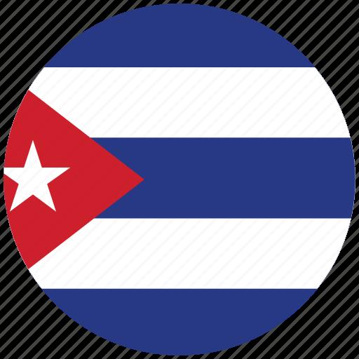 cuba, cuba's circled flag, cuba's flag, flag of cuba icon