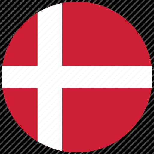 denmark, denmark's circled flag, denmark's flag, flag of denmark icon