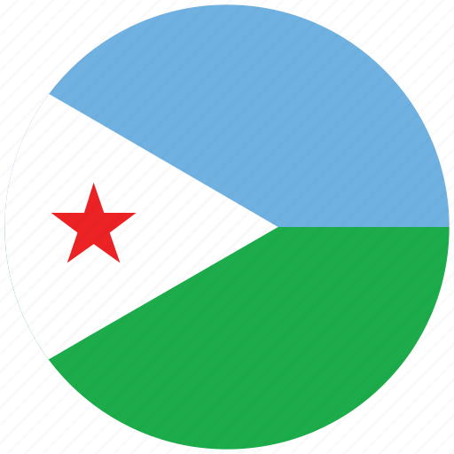 djibouti, djibouti's circled flag, djibouti's flag, flag of djibouti icon