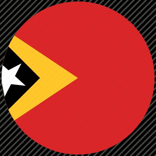east timor, east timor's circled flag, east timor's flag, flag of east timor icon