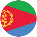 eritrea, eritrea's circled flag, eritrea's flag, flag of eritrea icon