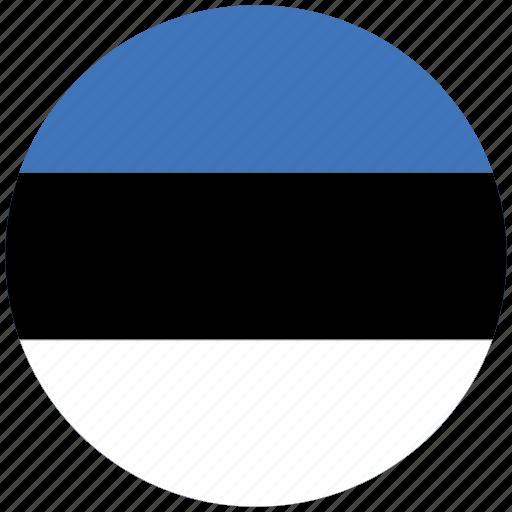 estonia, estonia's circled flag, estonia's flag, flag of estonia icon