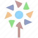 circus, fan, paper, pinwheel, propeller, toy, windmill icon