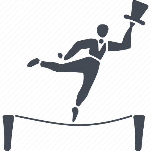 circus, human, rope, ropewalker, speech icon