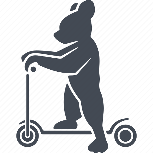 bear, circus, kick scooter, trained bears icon