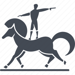 circus, horse, trained horse, trainer, trick icon