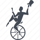 circus, wheel, hat, trick