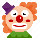 clown, face, carnival, circus, show, entertainer, festival icon
