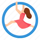 hoop, aerial, ring, gymnast, performance, festival, carnival icon